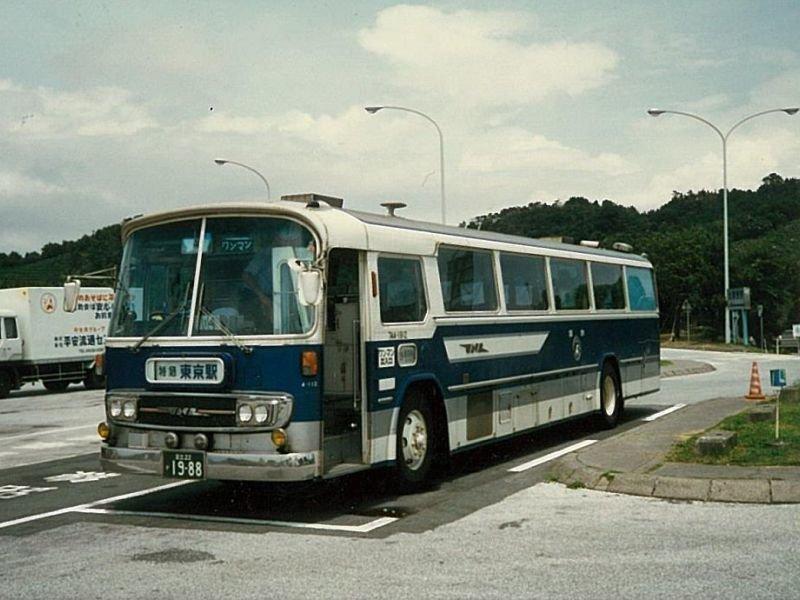 三菱ふそうK-MS504R 東名ハイウェイバス 浜名湖SA 1986.07(前)