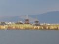 大池から見た若草山と薬師寺
