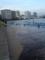 台風の影響か満ち引きか川面あがってる