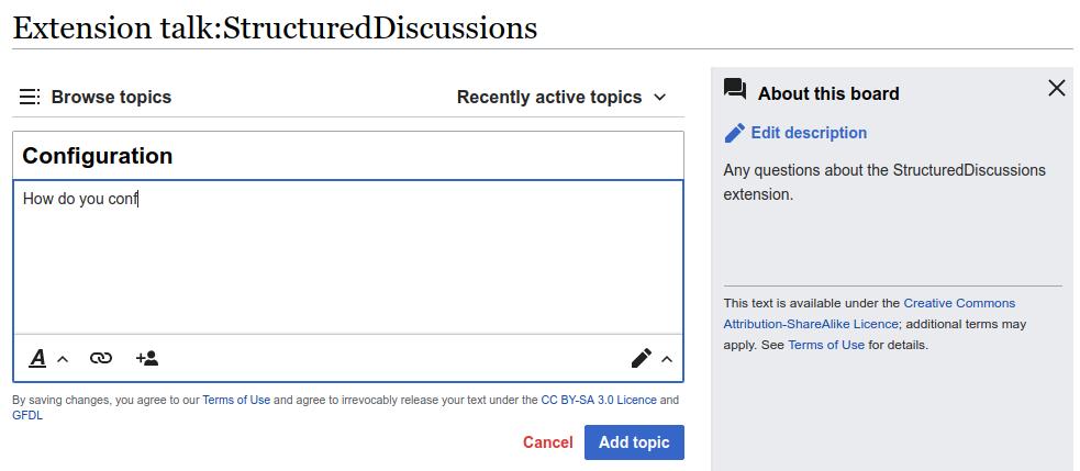 拡張機能Structured Discussionsが提供する掲示板の例。左の欄で話題の追加が簡単に行えるほか、右の欄にその掲示板の説明を表示することができる。