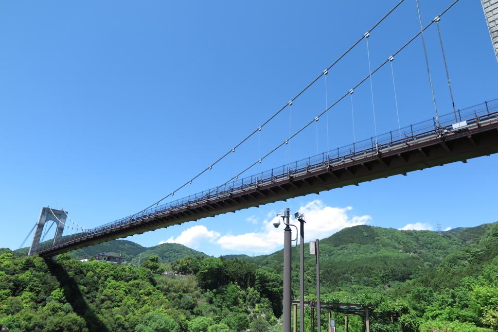 諏訪丸駐車場側か見た風の吊り橋