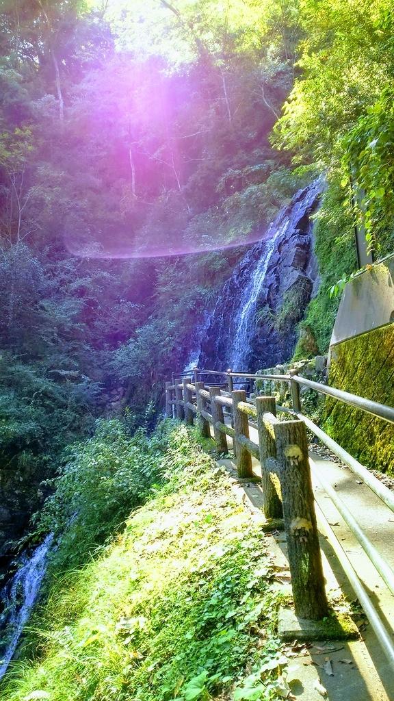遊歩道と旭滝