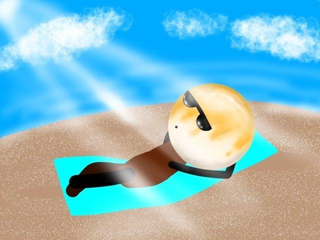 日光浴で骨粗鬆症予防中のお団子団長