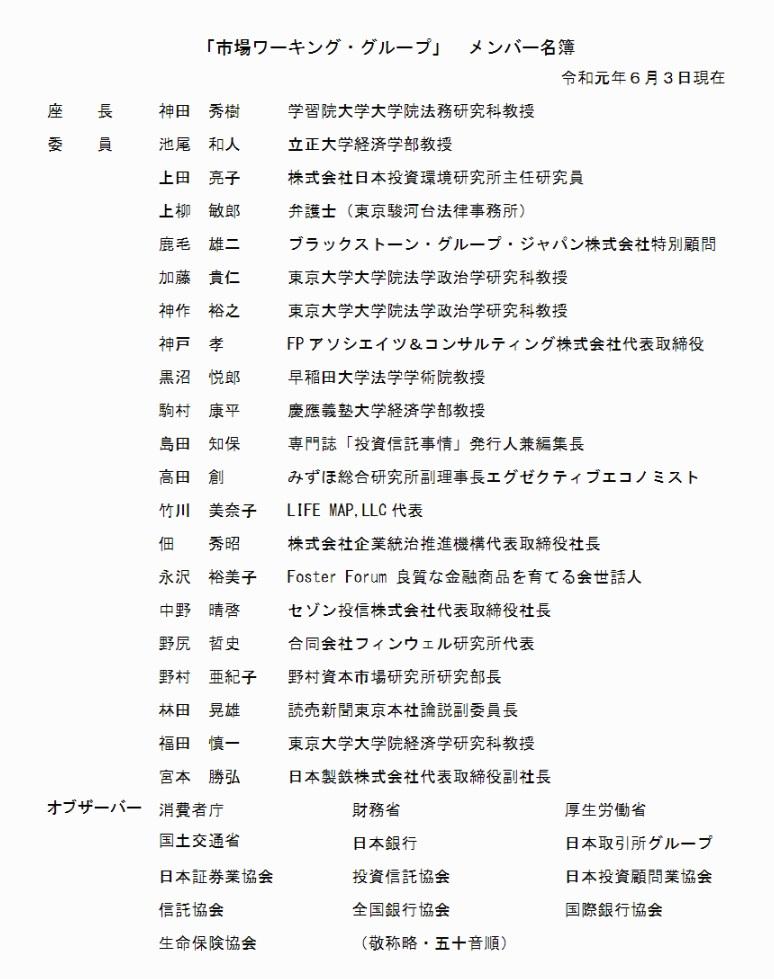 市場ワーキンググループ委員名簿