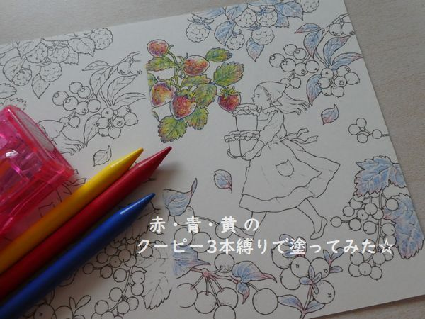 クーピーで3色塗りしてみました 植物編 森の少女の物語より 塗り絵日記