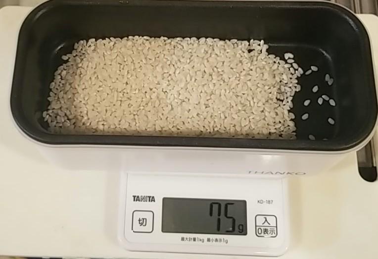 おひとりさま用超高速弁当箱にお米を入れる