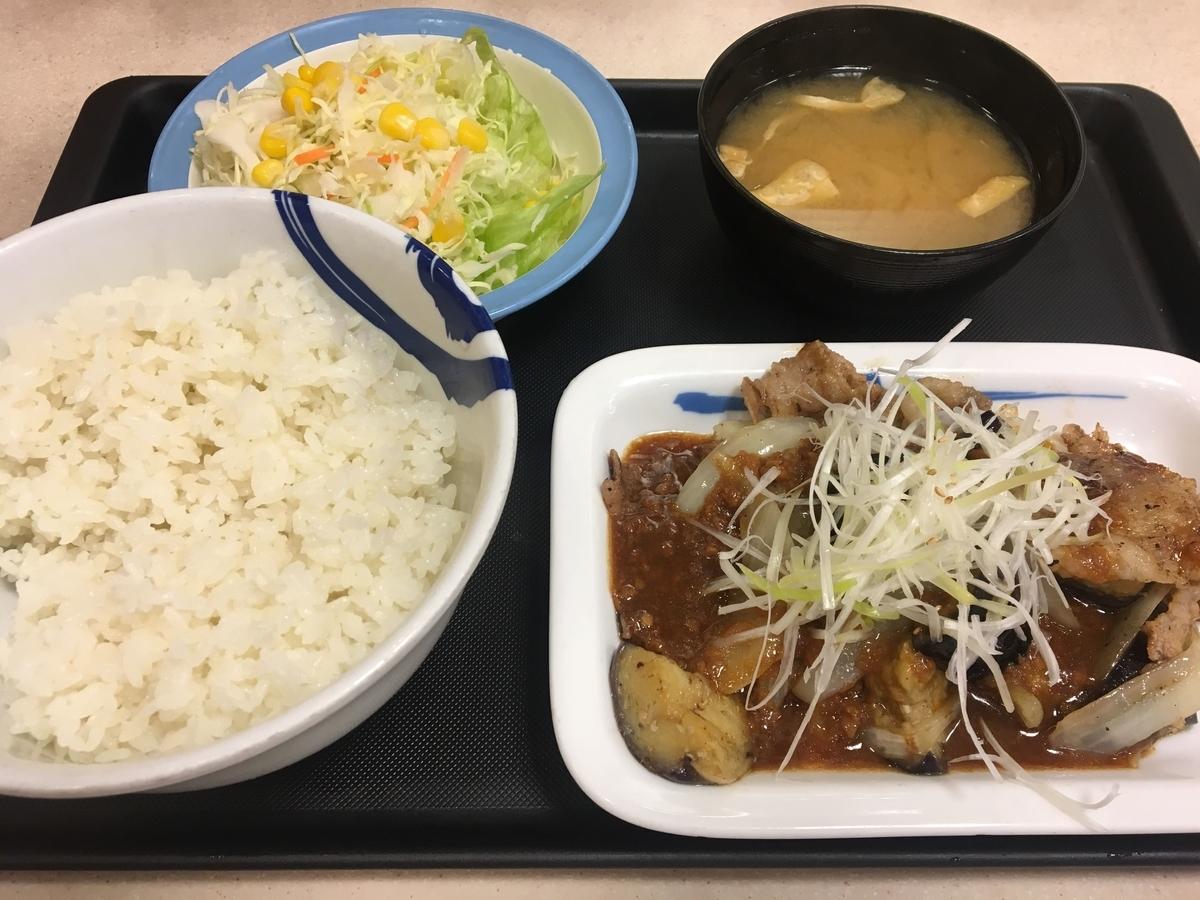 牛焼肉と茄子のにんにく味噌定食 ご飯大盛