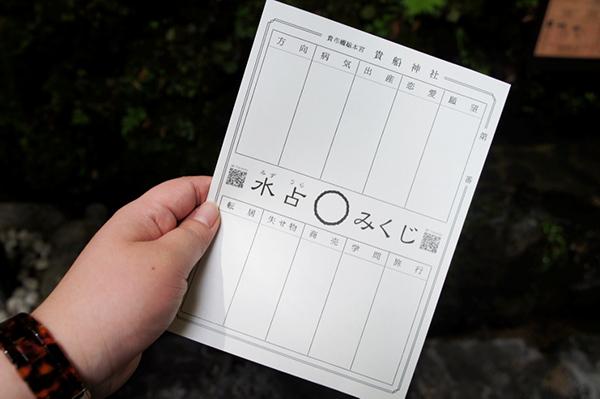 貴船神社の水占いみくじの用紙