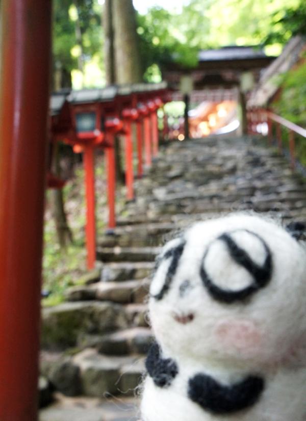 貴船神社の階段と灯篭とパンダ様