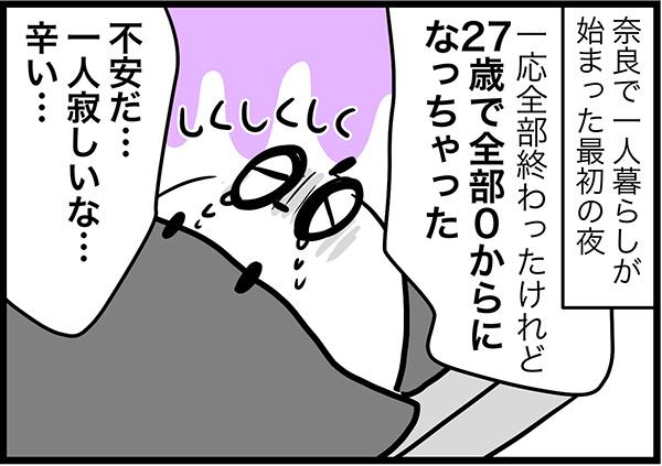 奈良で一人暮らしが始まった最初の夜あー一応全部終わったけれど27歳で全部0からになっちゃった不安だ…一人寂しいな…辛い