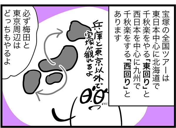 宝塚の全国ツアーは東日本中心に北海道で千秋楽をやる「東回り」と西日本を中心に九州で千秋楽をする「西回り」とあります必ず梅田と東京周辺はどっちもやるよ