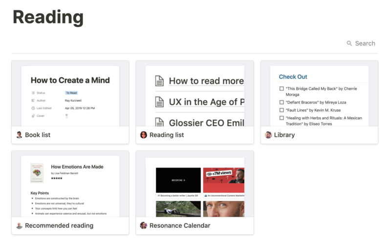 Notion Template Gallery / Reading