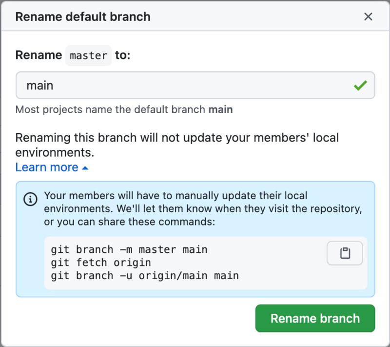 GitHub: rename branch