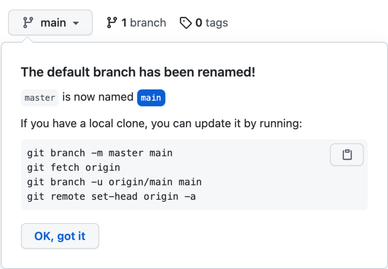 GitHub: The default branch has been renamed!