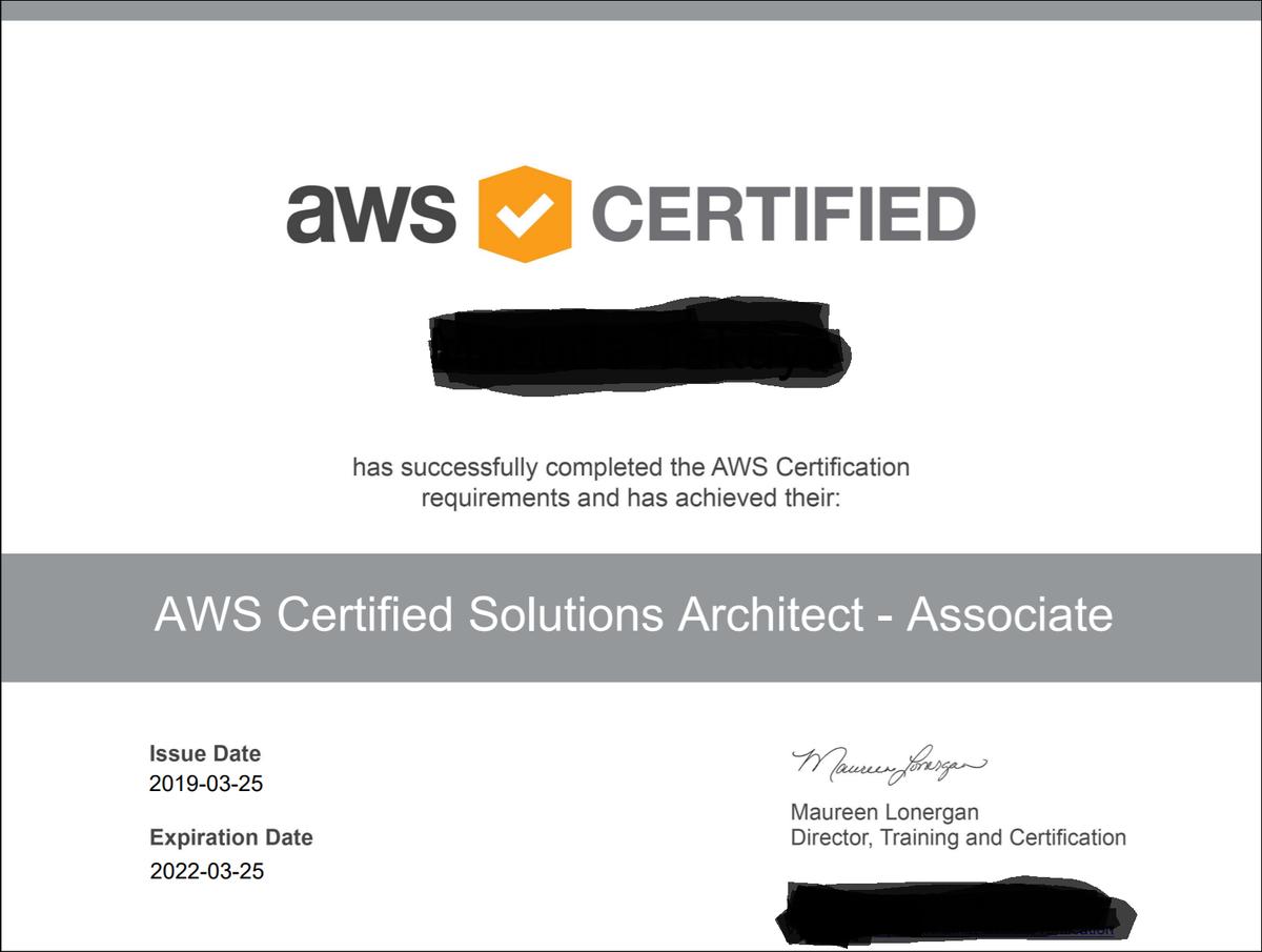 AWSソリューションアーキテクト アソシエイト 認定キャプチャ