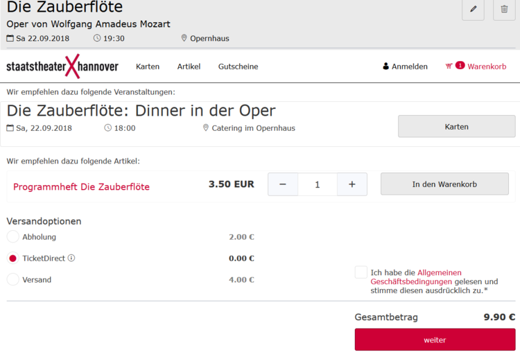 ドイツ オペラハウス 決済画面