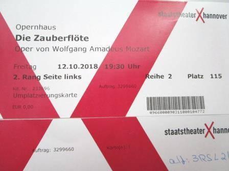 ドイツオペラの紙チケット