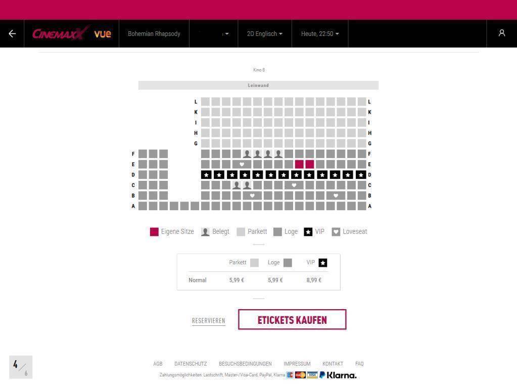 ドイツの映画館の座席表