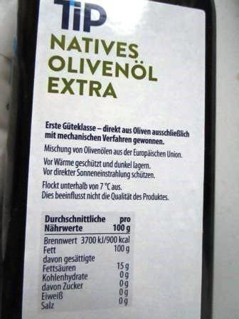 ドイツのrealオリーブオイルのラベル