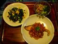 鮭のトマトソースかけ・ニラ玉炒め・ミミガーきゅうり