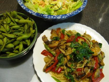 シーフードスパニンニクベーコン野菜たち