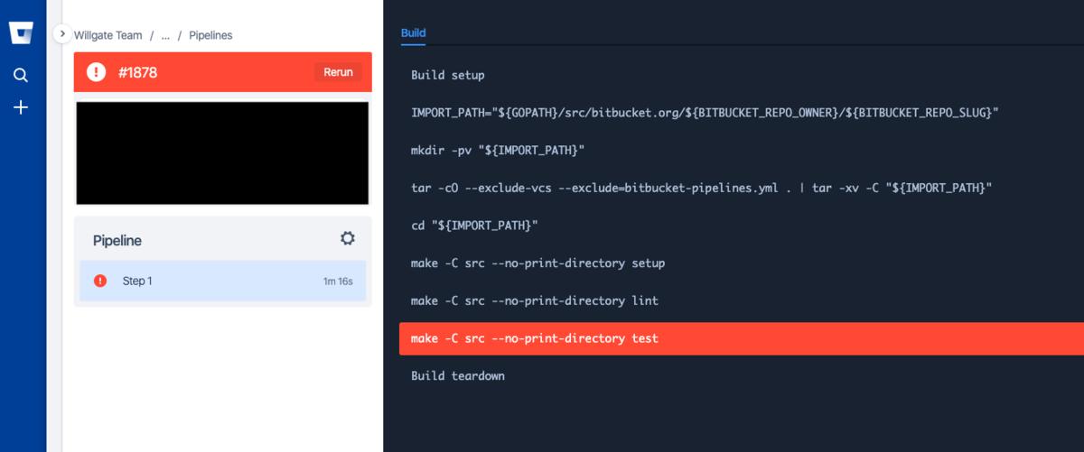 自動テストに失敗している状態の Bitbucket Pipelines の画面