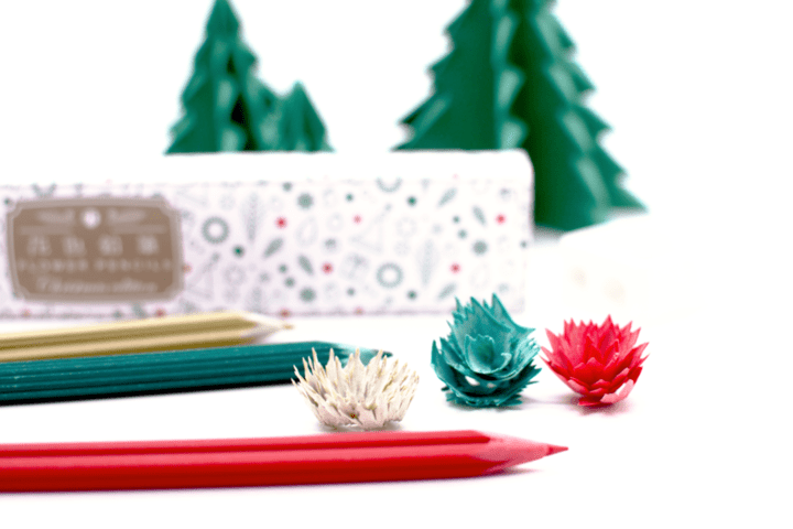 """鉛筆を削ると花が咲く!?クリスマスカラーをイメージした""""花色鉛筆""""が登場"""