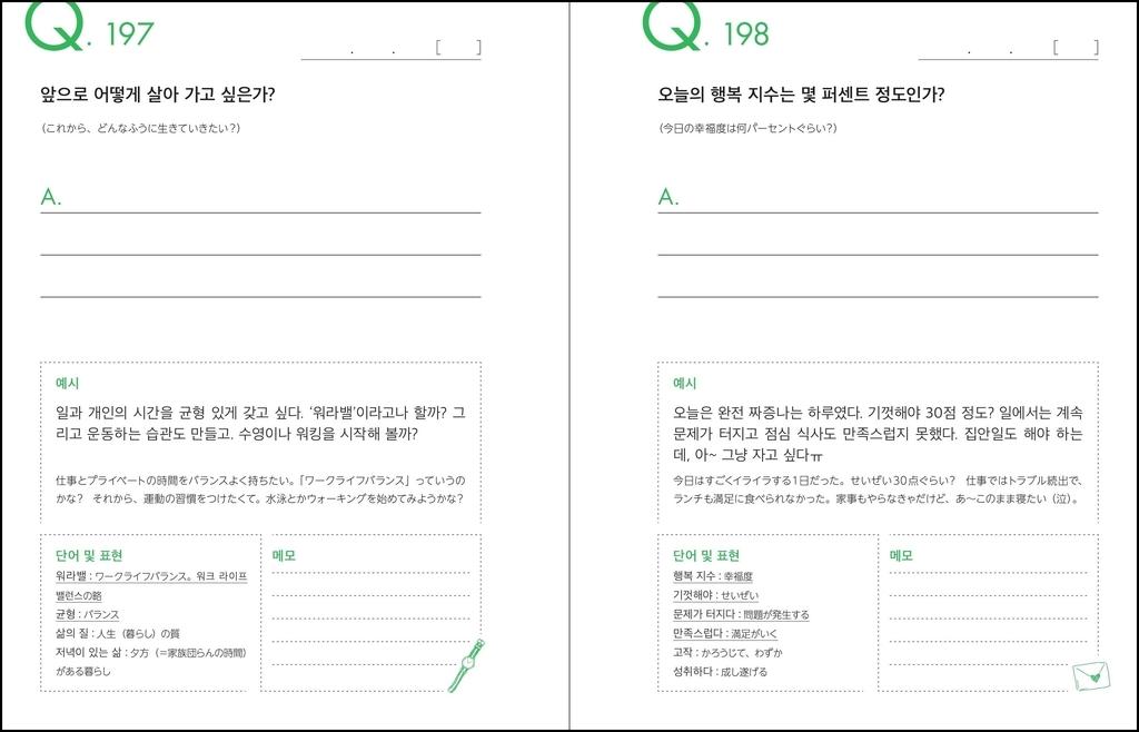 本文Q197とQ198。バラエティに富んだQと自然な韓国語のサンプル作文、そして表現の幅を広げる語彙がセットになっています。