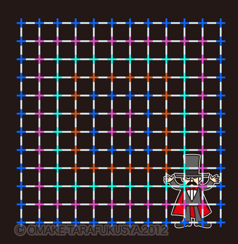 ネオンカラー効果という錯視。丸い点は実在しない。