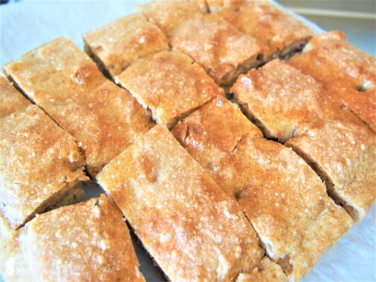 ライ麦と全粒粉のフォカッチャ風パン