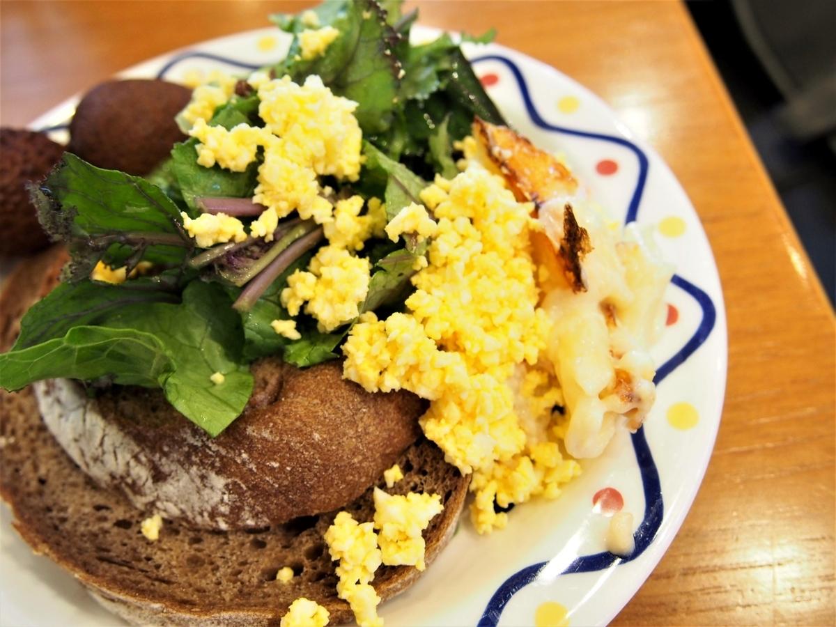 玄米パンと刻みゆで卵等