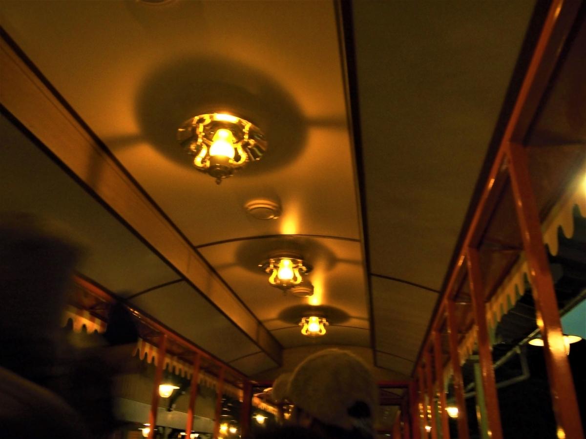 ウエスタンリバー鉄道の天井の灯り