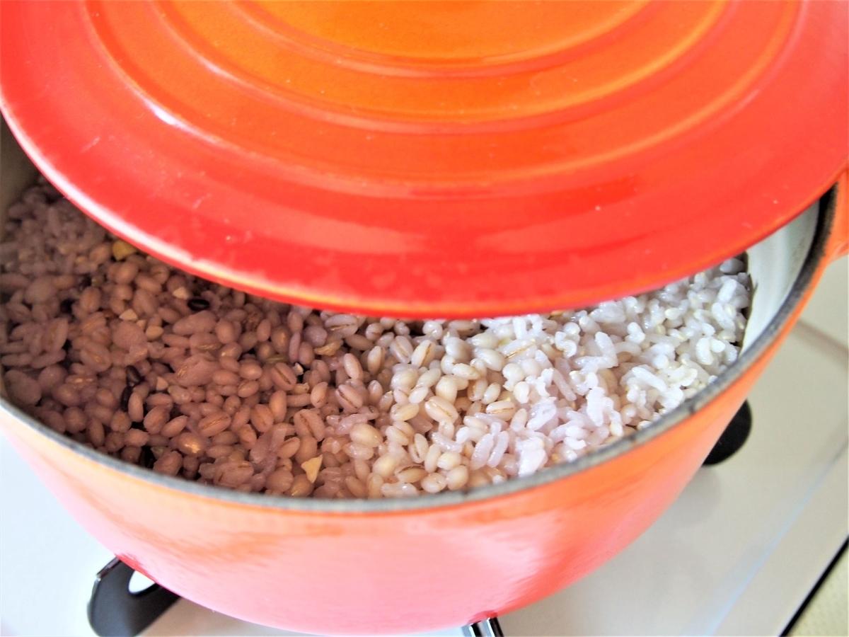 鍋・雑穀米の炊きあがり