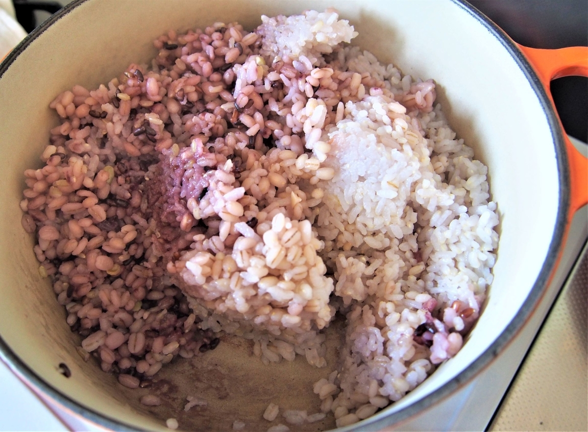 雑穀米の炊きあがり