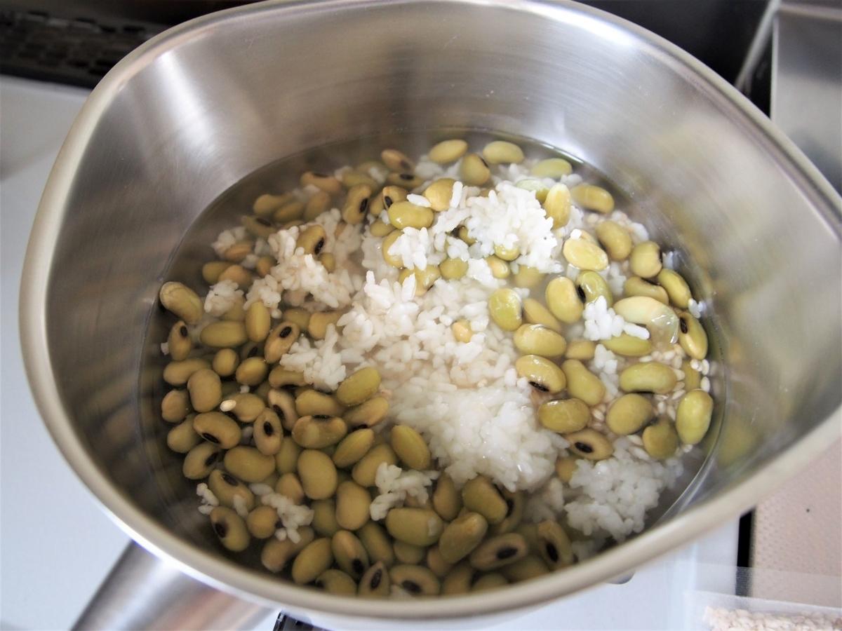 枝豆ご飯をふやかす