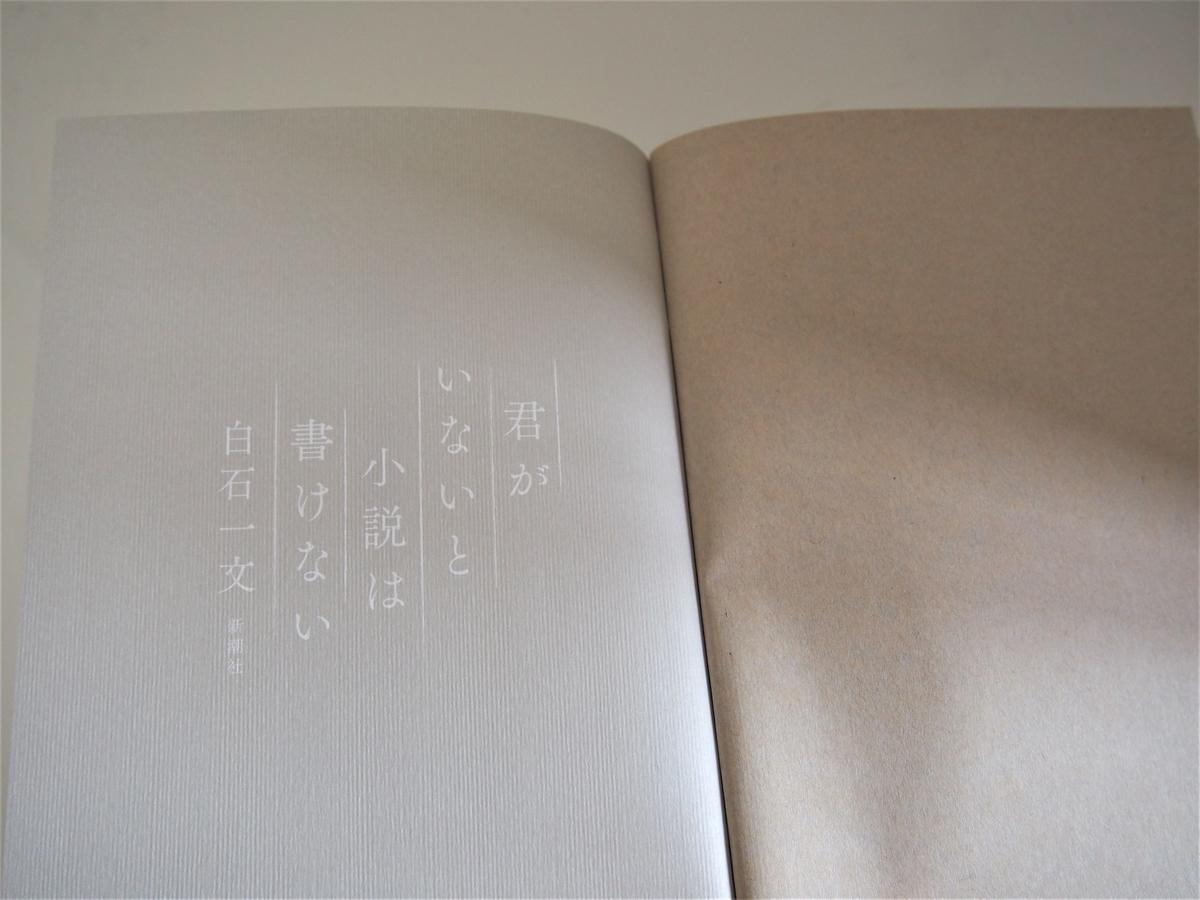 白石一文・長編小説「君がいないと小説は書けない」中扉