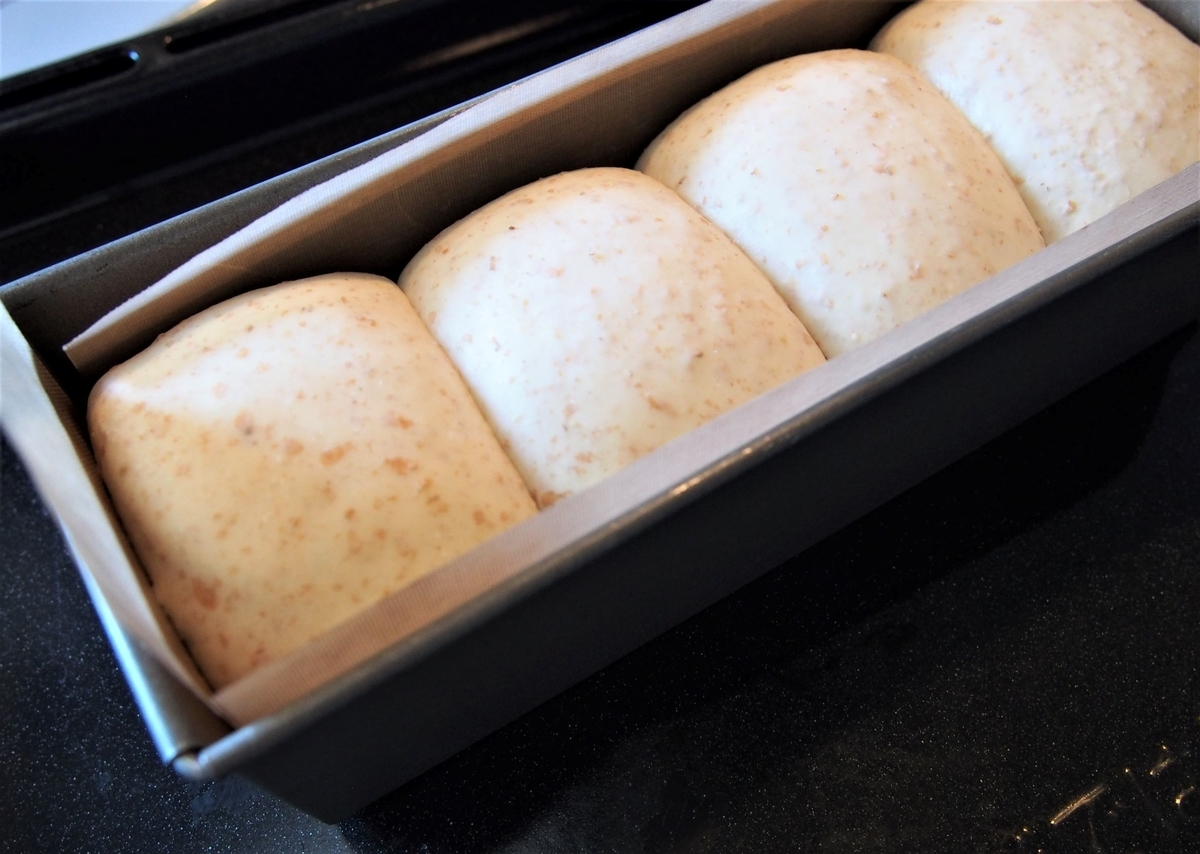 発酵後のミニ食パン生地
