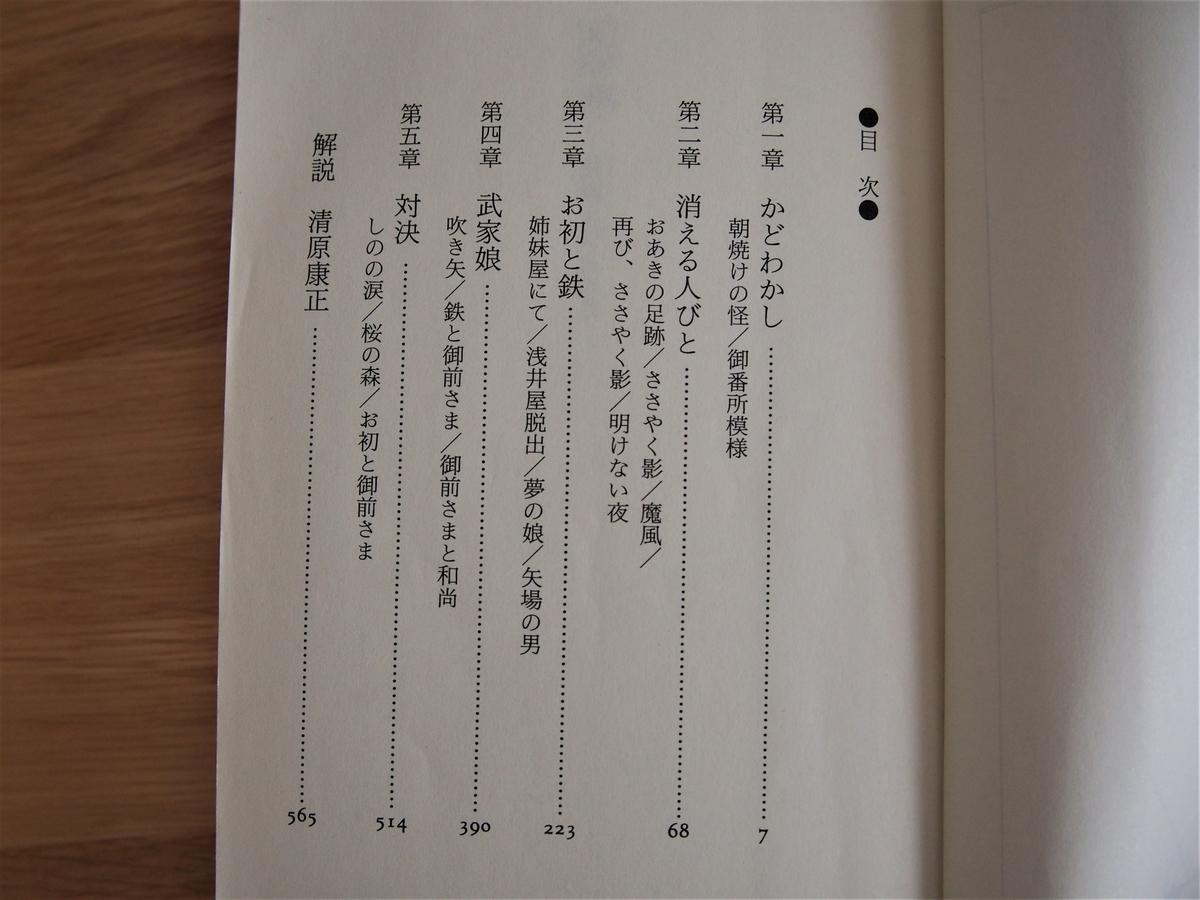 宮部みゆき著「天狗風・霊験お初捕物控」目次