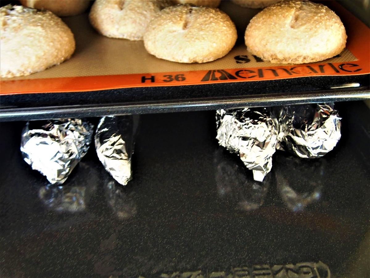 焼き芋とふすまパンの同時焼成。