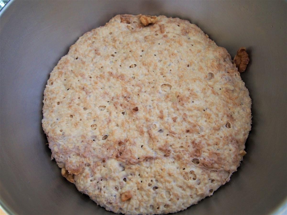くるみ入りのふすまパン生地・発酵後