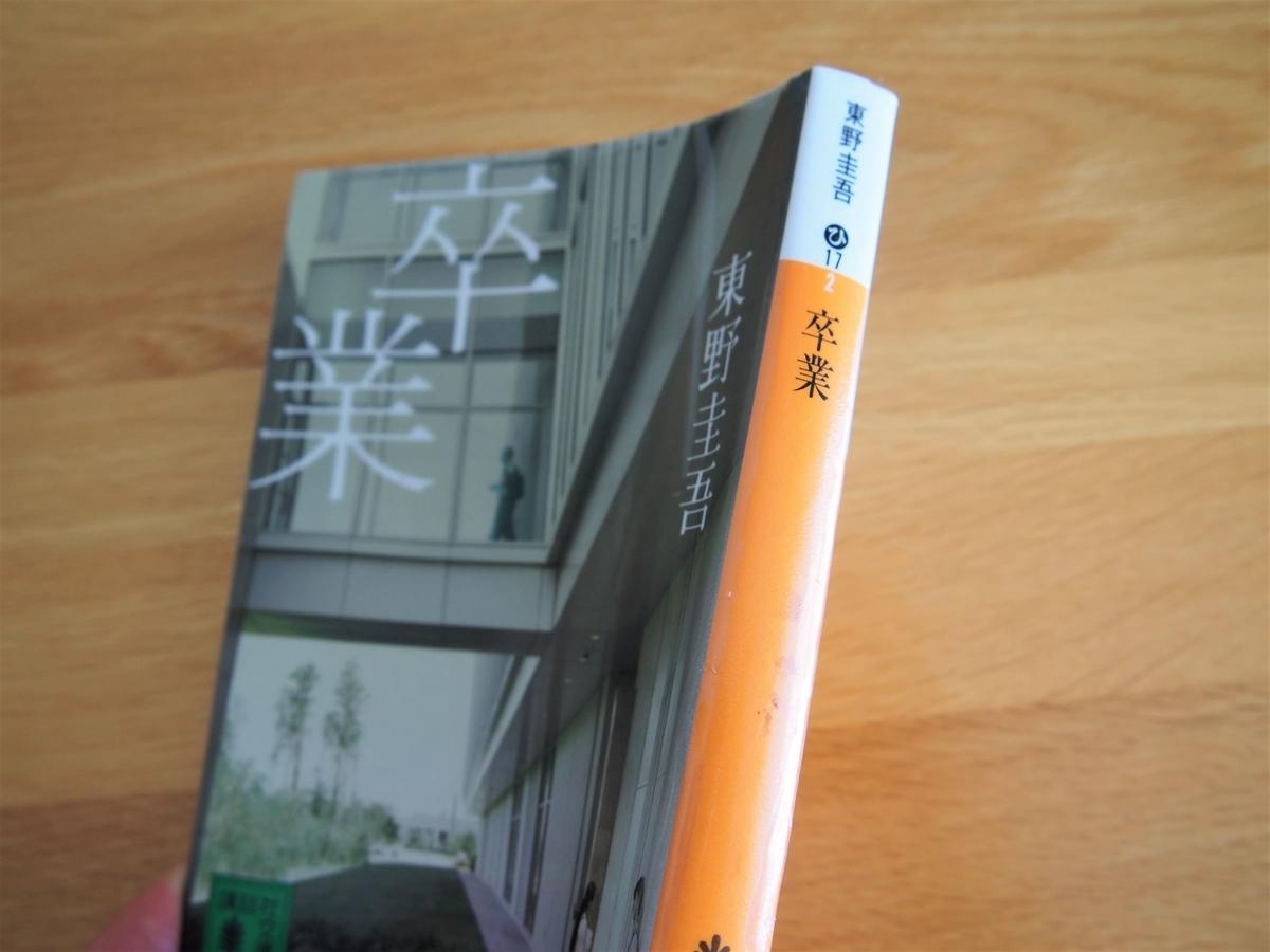 東野圭吾「卒業」の文庫版・背表紙