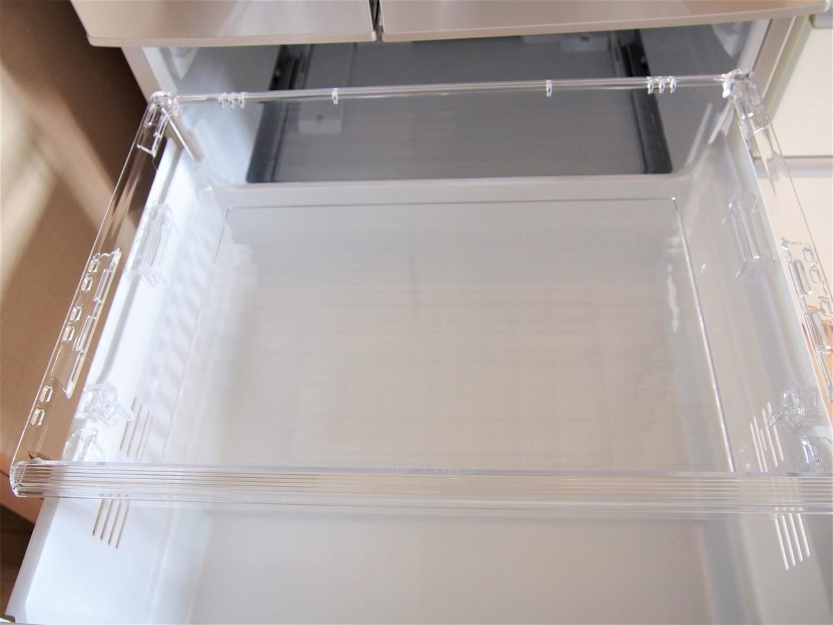 パナソニックの下段冷凍室・ワンダフルオープンの引き出し部分