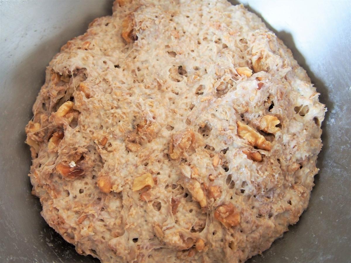 くるみ入りのパン生地・発酵後の様子