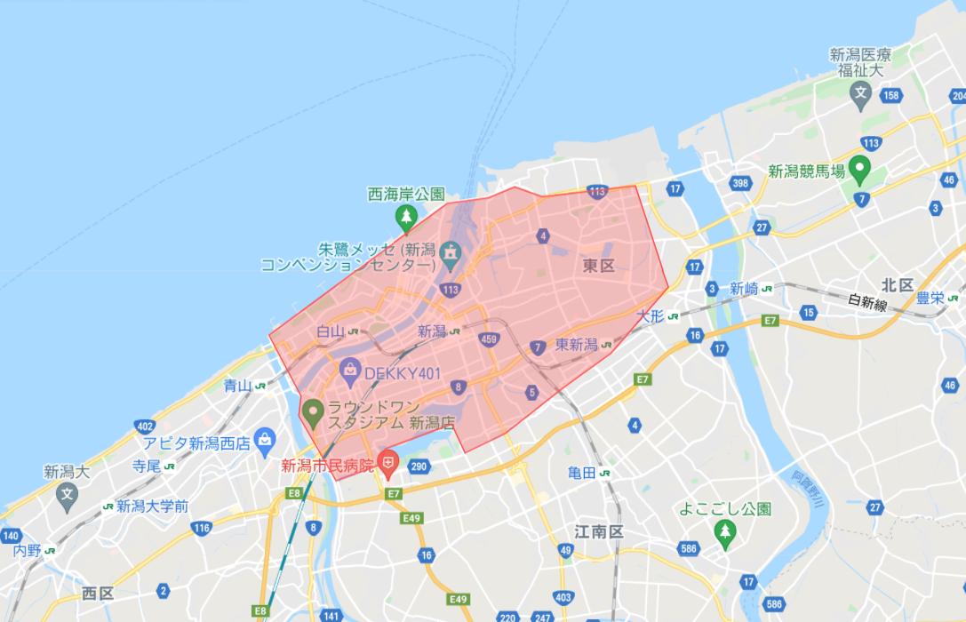 Uber Eats 配達エリア_新潟市