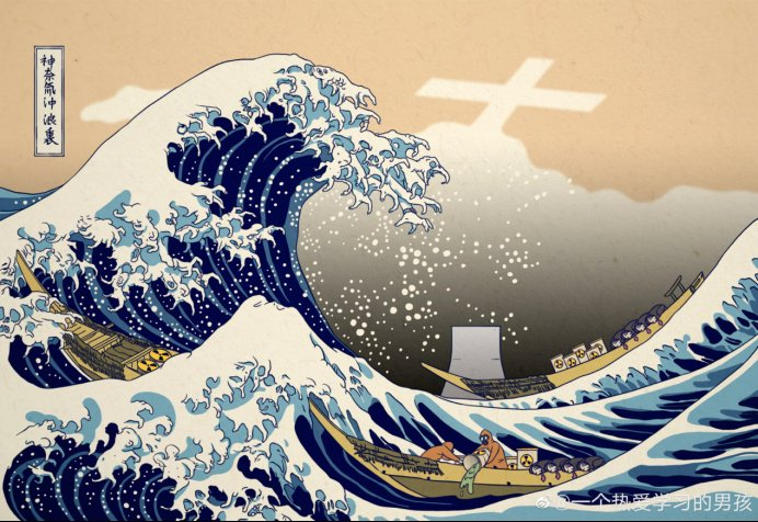 「葛飾北斎ー富嶽三十六景 神奈川沖浪裏」のパロディー画