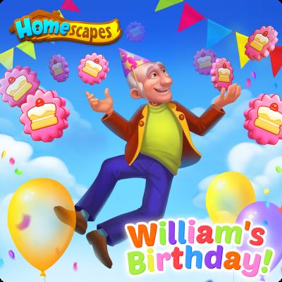 ホームスケイプのウィリアム誕生日イベントの通知画面