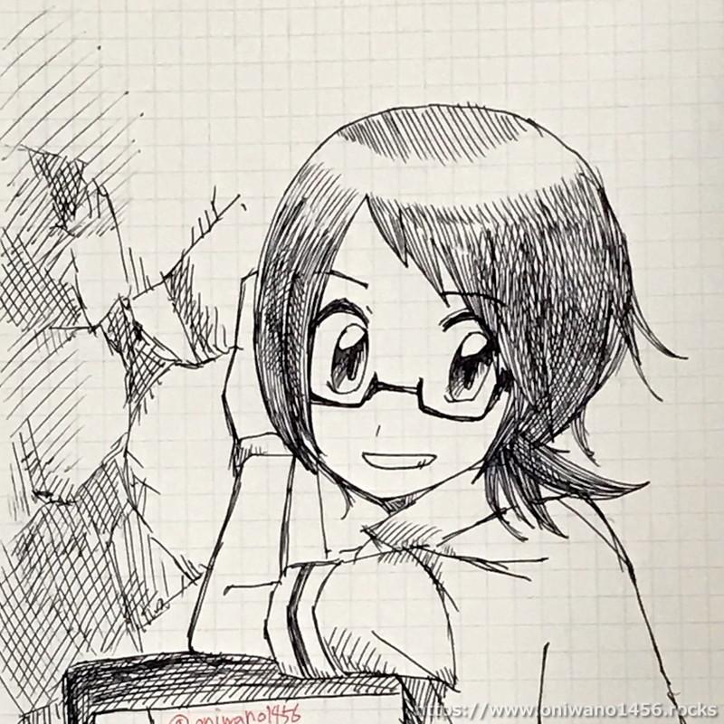 アナログで描いたヒョウタのイラスト