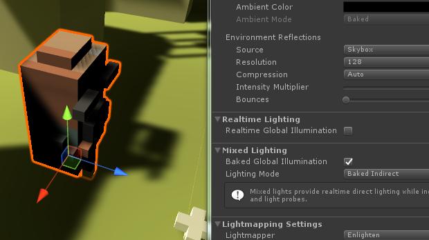 Lighting ModeをBaked Indirectにした表示結果