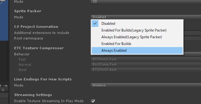 Sprite Packer/ModeをAlway Enabledに変更
