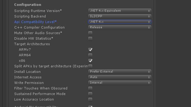Api Compatibility Levelを.Net 4.xに変更